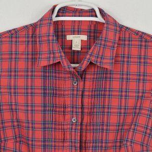 J Crew Shirt sz 2 Ruffle Long Sleeve Button Up